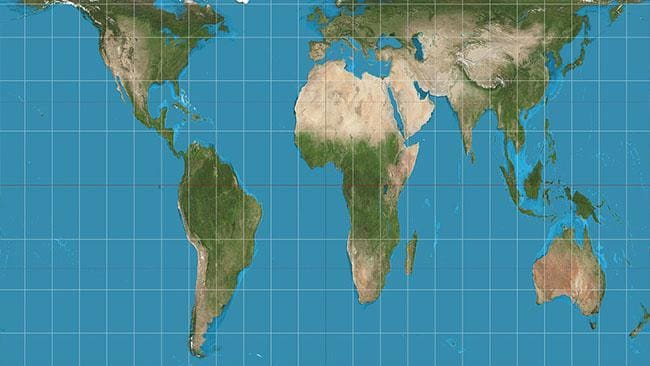 World map with accurate sizes gall peters map throws schools into a a new map has started replacing the mercator depiction in boston with the aim to provide students with a more accurate picture of the globe gumiabroncs Images