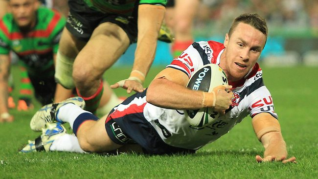 James Maloney goes over for the Roosters. Picture: Mark Evans