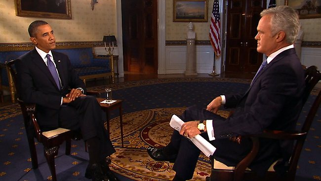 CBS Evening news anchor Scott Pelley interviews President Barack Obama in the Blue Room of the White House. In a series of six network interviews planned as part of a furious lobbying campaign in Congress, Obama said statements suggesting that Syria might agree to surrender control of its chemical weapons stockpile were a potentially positive development. (AP Photo/CBS News)