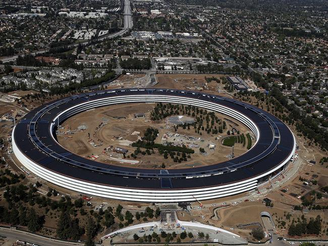 An aerial view of the new Apple headquarters. Picture: AFP/Getty