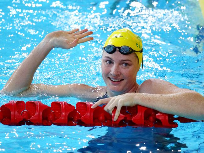 Cate Campbell of Australia celebrates winning the 4x100m freestyle relay.