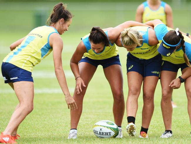 Demi Hayes, second from left, at training.