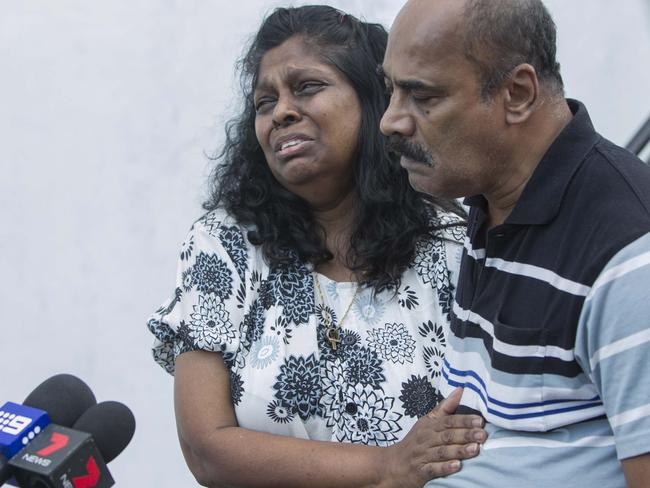 Begging for mercy ... Raji Sukumaran cries as she talks to journalists at a hotel in Cilacap, Central Java.