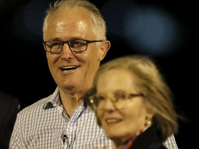 Prime Minister Malcolm Turnbull and his wife Lucy board a plane at Sydney Airport, headed to Israel. Picture: AAP Image/Daniel Munoz