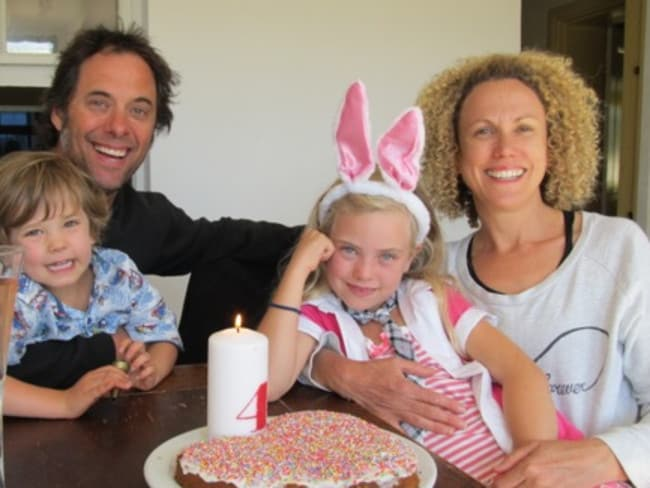 Cancer patient Tania Murphy, with husband Chris and children Kalam and Tayla. Picture: Supplied.