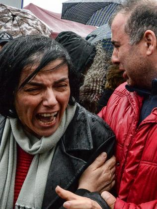 Relatives grieve for victims of the Ankara car bombing. Picture: Gokhan Tan/Getty Images
