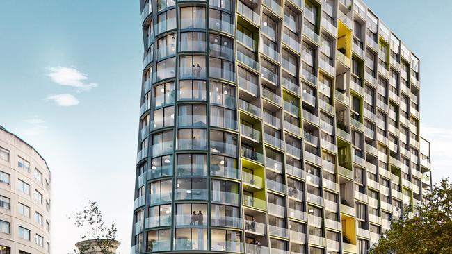"'Omnia"" is a 19 storey residential tower currently under construction in Potts Point."