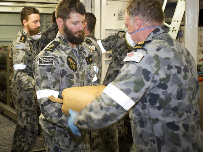 Australian Navy personnel have seized about $415 million worth of drugs in the Arabian Sea. Picture: AAP Image/Supplied/Australian Navy