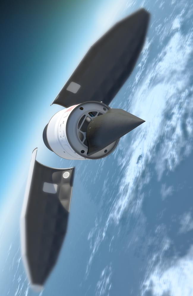 An artist's impression by the US Defence Advanced Research Projects Agency (DARPA) showing its Falcon Hypersonic Technology Vehicle 2 being deployed from an ICBM.