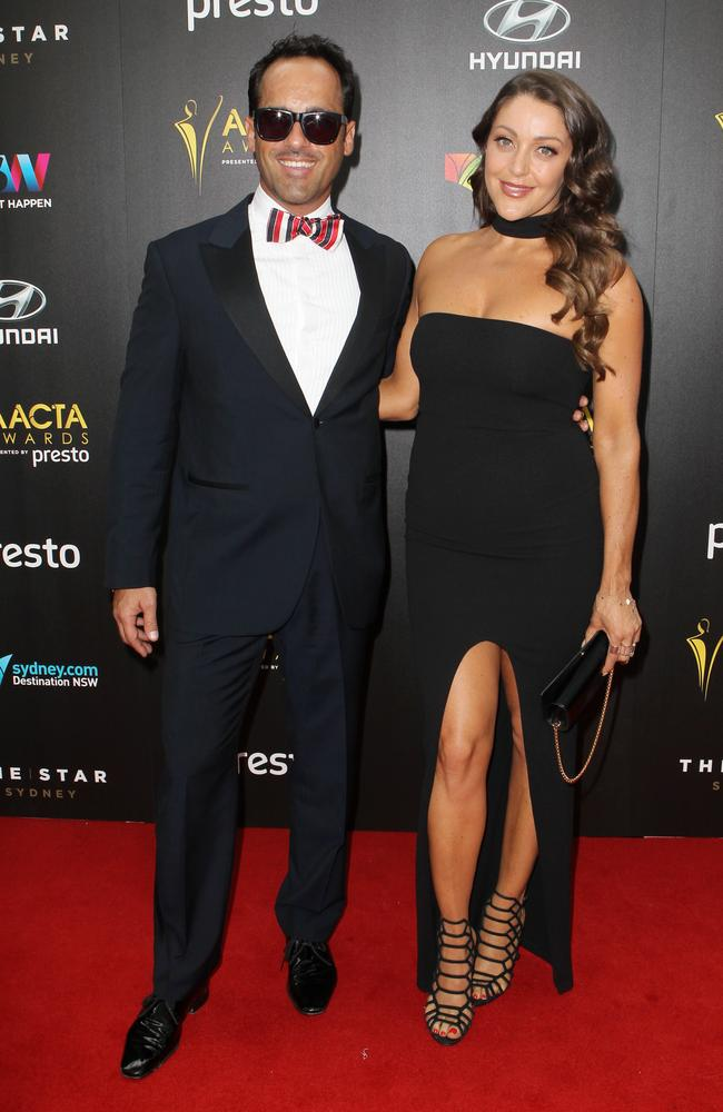 Alex Dimitriades and friend Nikita Sernak arrive ahead of the 5th AACTA Awards Presented by Presto at The Star on December 9, 2015 in Sydney, Australia. Picture: Christian Gilles