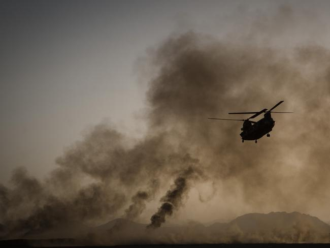 Long range ... Chinook helicopters, such as this one operating in Afghanistan, are among the few helicopters capable of reaching as far into Syria as Raqqa. Source: AP