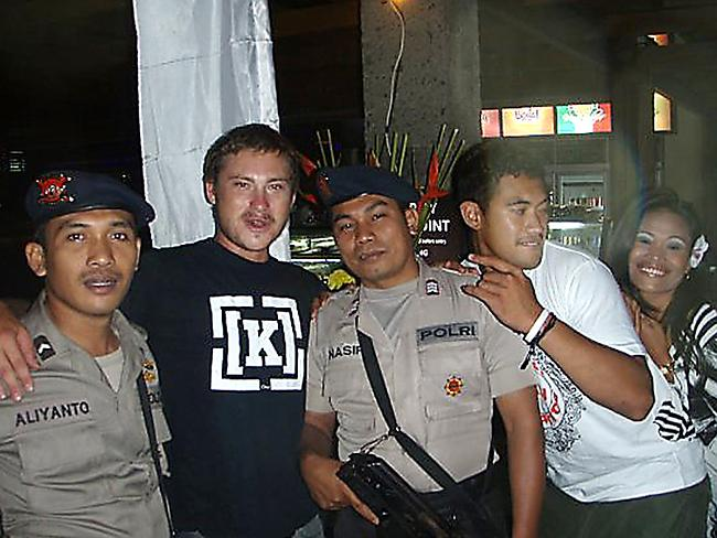 Mixing with locals ... Matt Christopher Lockley, who was held in an Indonesian police cell after a Virgin pilot set off a hijack alarm on the flight Matt was on to Bali. Picture: Facebook