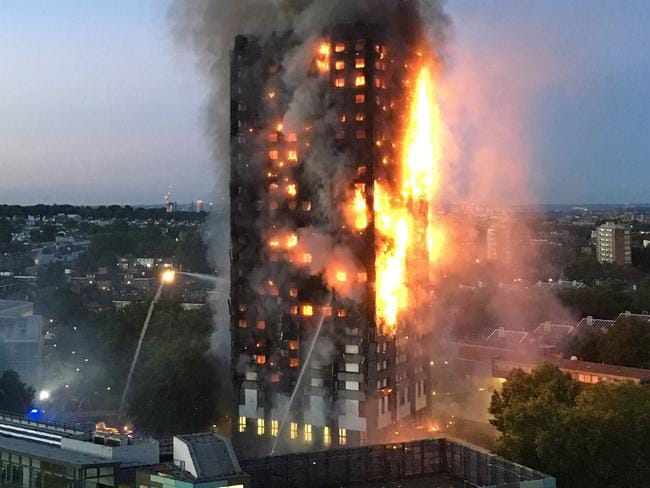 Grenfell Tower, which has 120 flats, went up in flames on Wednesday morning. Picture: Natalie Oxford/AFP
