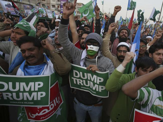 Protests against Donald Trump have raged around the world in recent days. Picture: AP/Fareed Khan