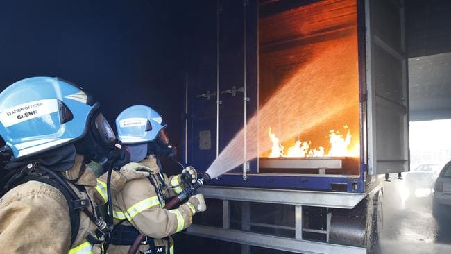 MFB Fire fighters train in the Burnley Tunnel truck fire scenario. Picture: David Caird.