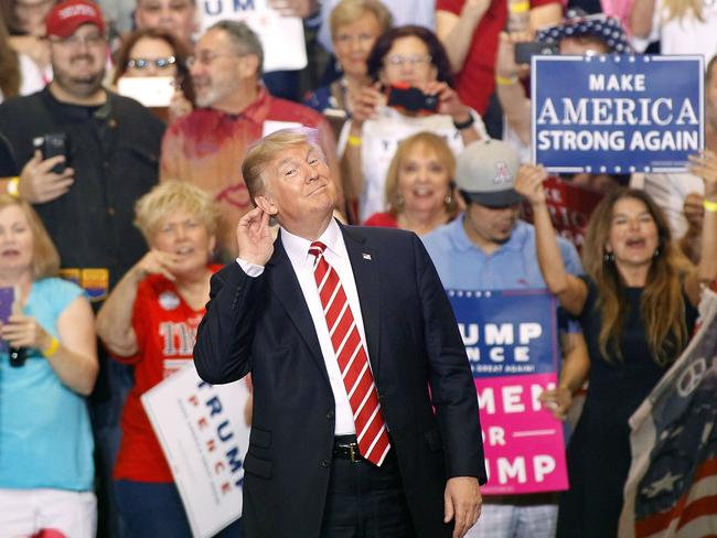 President Donald Trump fronted a wild, divisive rally in Phoenix, Arizona. Picture: Ralph Freso/Getty Images/AFP