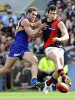 AFL Football at Subiaco Oval in Perth . 02-08-09 . West Coast Eagles v Essendon Bombers . Eagle Darren Glass and Bomber Jay Neagle in a contest . PICTURE : JACKSON FLINDELL .