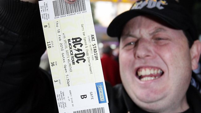 This man is ecstatic. Because it's extraordinarily hard to get your hands on a ticket these days. Picture: Jeff Herbert