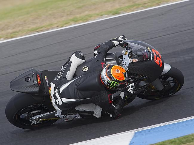 Esteve Rabat of Spain and the Marc VDS Racing Team rounds the bend during the MotoGP tests in Phillip Island.