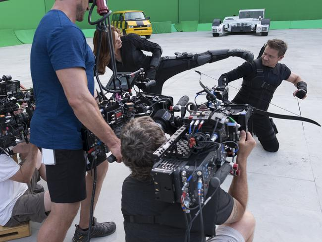 Scarlett Johansson and Jeremy Renner fight behind the scenes on Captain America: Civil War.