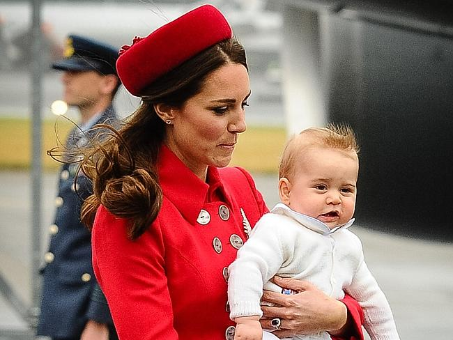 The heir with the hair ... Prince George sported a quiff upon arrival in Wellington last