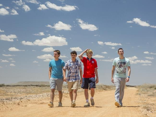 L-R: Joe Thomas (as Simon), Simon Bird (as Will), James Buckley (as Jay) and Blake Harrison (as Neil) — Scene shot in South Australia.