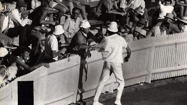 England bowler John Snow is famously grabbed by a spectator at the SCG in 1971. Snow had earlier hit Australian batsman Terry Jenner with a bouncer, forcing Jenner to retire hurt.