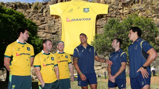 Australian cricket players Mitchell Starc, Phil Hughes and Brad Haddin chat with Wallabies stars Israel Folau, Nick Phipps and Matt Toomua.