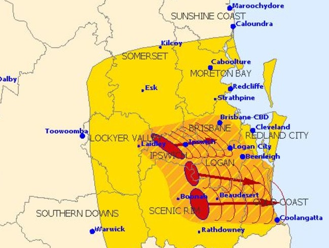 The Bureau of Meteorology's 12.07pm update showing storms heading east to Brisbane and the Gold Coast.