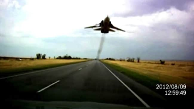 Russian jet buzzes motorist