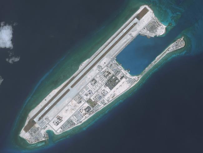 On May 2, China reportedly installed anti-ship cruise missiles and surface-to-air missile systems on Fiery Cross Reef, pictured above. Source: CSIS/AMTI