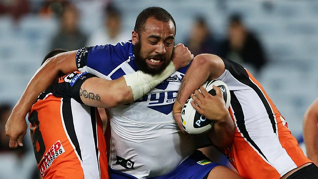 Bulldogs prop Sam Kasiano in action against the Tigers. Picture: Brett Costello