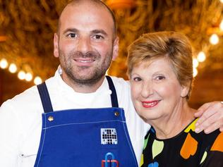 Embargoed for Saturday papers May 27 George Calombaris and his mum Mary. The pair team up in a MasterChef Australia challenge this Wednesday at George's Hellenic Republic restuarant.