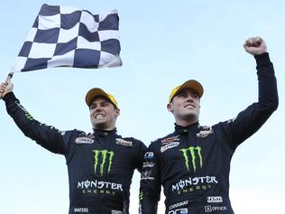 Cam Waters and Richie Stanaway win the Sandown 500. Pic: Mark Horsburgh