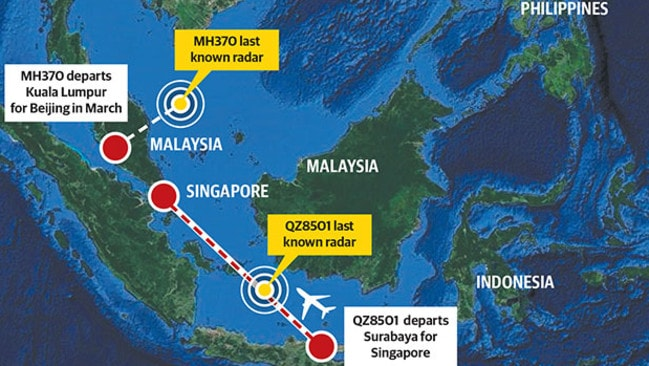 Missing flight MH370 and AirAsia QZ8501 lost contact not far from each other. Picture: Supplied.