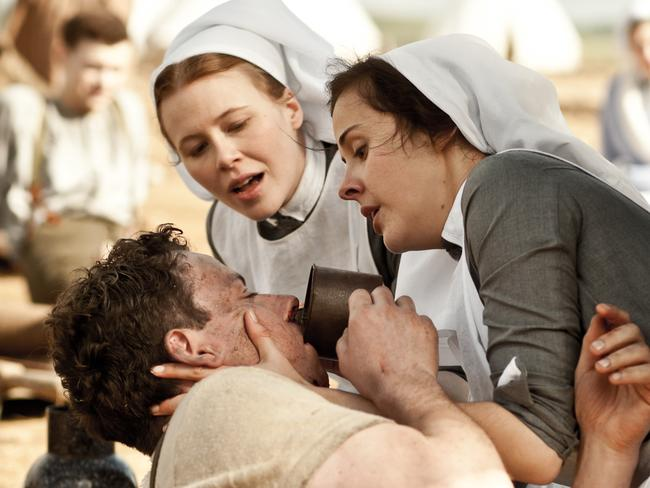 Close to the fighting ... but women were doing it tough on the home front too. Anna McGahan and Honey DeBelle in new ABC drama Anzac Girls, which traces the story of nurses abroad in WW1.