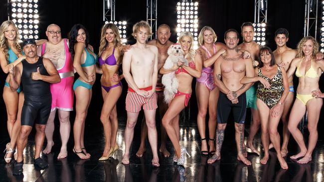 Thomas, sixth from left, discovered the acting talents of Denise Drysdale, third from right, on  <i>Celebrity Splash</i>. Picture: Supplied