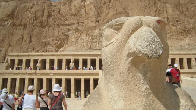 Outside Queen Hapshetsut's temple, which backs onto the Valley of the Kings in Luxor, Egypt. Picture: Melissa Matheson
