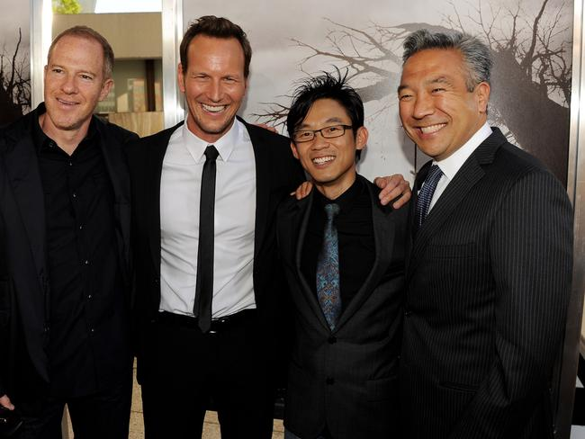 Director James Wan (second from right) with New Line Cinema president and COO Toby Emmerich, actor Patrick Wilson and Kevin Tsujihara, the CEO of Warner Bros at the premiere of The Conjuring in 2013. Picture: Kevin Winter/Getty Images