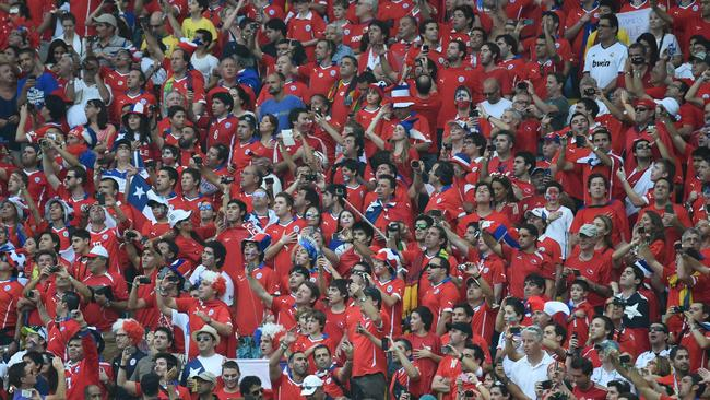 Noisy and passionate: Chile's fans cheer their team on.