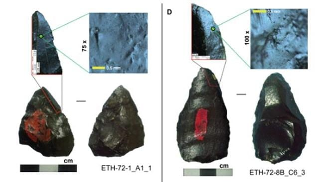 The stone spearheads found in Ethiopia, dating back some 280,000 years - older than Homo sapiens. Pictures: PlosONE