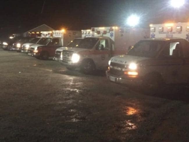 Ambulances outside Lee Correctional Institution in South Carolina, where eight hours of fighting left seven inmates dead and 17 injured. Picture: Lee County Fire Dept.