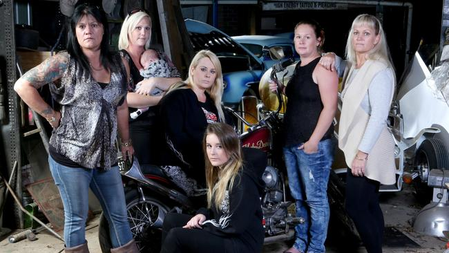 Bikie WAGS: Gerry Lister, Sarah Trappett with baby Carter, Tracey Kosenko, Judith Lammers, Cindy Murray, and Kassie Kosenko. Photo Steve Pohlner