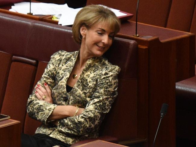 Resting her eyes. Liberal Senator Michaelia Cash. Picture: AAP Image/Mick Tsikas
