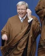 Australia's Prime Minister Kevin Rudd seems to really like his poncho.