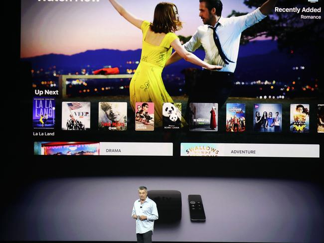 Eddy Cue, Apple's senior vice president of internet software, shows the new Apple TV product. Picture: AP