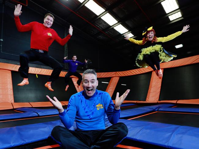 Bouncing back with a tour ... The Wiggles pictured at Sky Zone in Sydney.