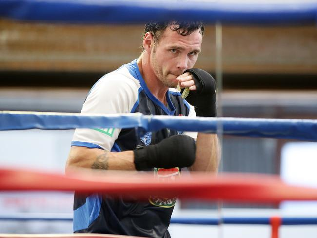 Daniel Geale during sparring session as he prepares for Golovkin bout. Picture: Liam Kidston