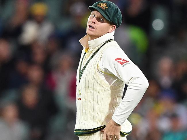 Skipper Smith reacts following a dropped catch in Adelaide. Picture: AAP