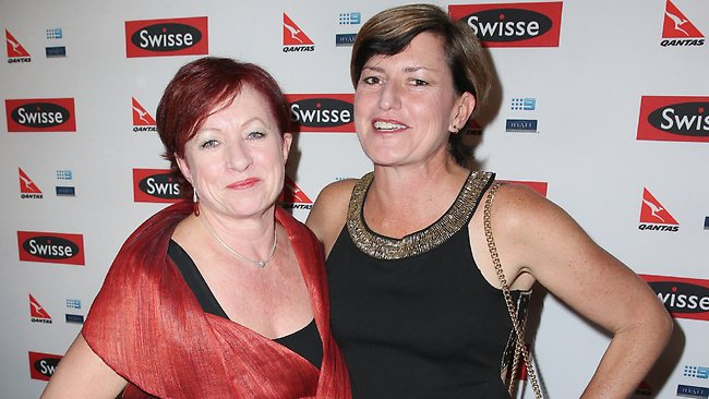 Christine Forster, the sister of politician Tony Abbott and her partner Virginia Edwards arrive at a Ellen DeGeneres Welcome Party on March 26, 2013 in Melbourne, Australia. (Photo by Scott Barbour/Getty Images)